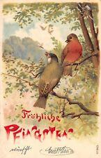 AK Litho. Prägekarte Fröhliche Pfingsten Vogel Postkarte gel. 1903 Chemnitz