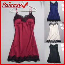 Sexy Lingerie Womens Lace Silk Satin Nighty Dress Mini Gown Babydoll Sleepwear