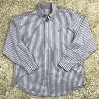 Brooks Brothers Men's XL Purple Striped Long Sleeve Supima Logo Flip Cuff Shirt
