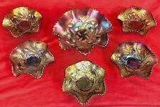 NORTHWOOD 6pc NUT SET WILD STRAWBERRY ANTIQUE CARNIVAL GLASS PURPLE ELECTRIC EXC