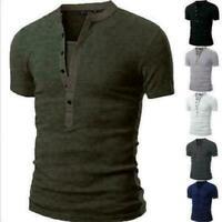 Men's Slim V Neck Short Sleeve Tee T-shirt Casual Tops Henley Shirts