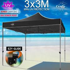 3x3m Marquee Canopy PVC Folding Gazebo Shade Tent Market Party Pop Up Black