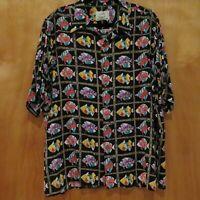 VTG REYN SPOONER Miles Collection Mens Rayon Hawaiian Floral Fish Shirt Size L