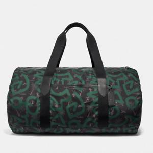 NWT Coach Keith Haring Green Hula Dance Print Packable Duffle Bag F50164 $378