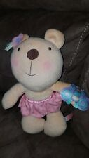 """11"""" FISHER PRICE LITTLE BUTTONS TEDDY BEAR RATTLE STUFFED ANIMAL PLUSH TOY 2009"""