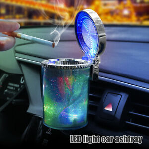 Car Ashtray Holder Cup With Lid Detachable & LED Auto Cigarette Odor Remover