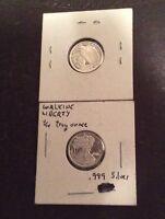 Pair 1/10 oz. 999 Silver Bullion Rounds Walking Liberty Design Fractional Silver