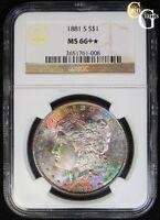 1881-S Morgan Silver Dollar NGC MS66+* Plus Star Rainbow Toning Neon Toned WOW!!