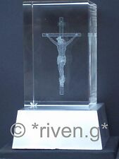 CRYSTAL Laser Block & L.E.D. Display Stand@3D JESUS CRUCIFIXION@PAPER WEIGHT@LIT