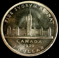 1939 Commemorative $1.00 Canada Uncirculated Silver Dollar 80% Silver