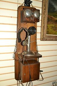 """Rare Antique Western Electric Oak Wood Double Box Wall Candlestick Telephone 34"""""""