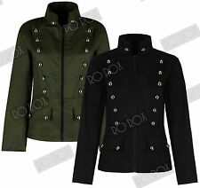Womens Military Officer Army Parade Button Uniform Short Jacket Emo Punk Gothic