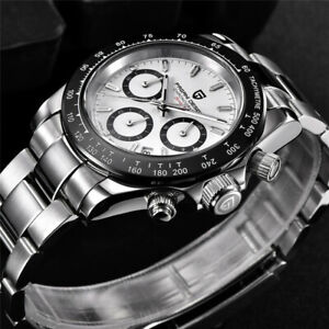 PAGANI DESIGN Chronograph Men Business Quartz Watch Stainless Steel Strap White