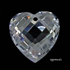 Cubic Zirconia Puffy Heart Pendant Earring Bead 14mm Clear 1PC #96067