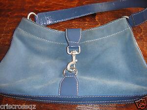 MICHAEL KORS * Denim BLUE SUEDE &  LEATHER Shoulder or HANDBAG * 4 Compartments