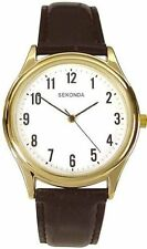 New Sekonda Gents /  Mens Black / Brown Strap Gold Plated Watch 3623