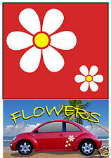 Flower Decals Car Stickers Graphics WHITE for Windows Mirrors Walls Body Panel