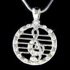 w Swarovski Crystal ~Staff TREBLE G CLEF MUSIC Musical NOTE Pendant Necklace New