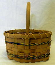 Collectible Decorative Tan Woven Country Blue Home Single Handle Basket