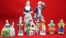 Occupied Japan Figurines Vintage CERAMIC COLONIAL 8 Pc LOT Colonial French Louis