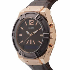 Guess Connect Mens Smartwatch Rose Gold Brown Croc Emb Leather Strap C0001G2