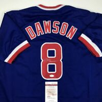 Autographed/Signed ANDRE DAWSON Chicago Blue Baseball Jersey JSA COA Auto