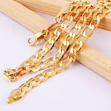 Men Women 14K Gold Filled Heavy Flat Curb Luxury Unisex Necklace Chain Jewelry