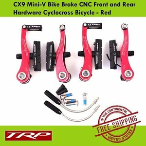 TRP CX9 Mini-V Bike Brake CNC Front and Rear Hardware Cyclocross Bicycle - Red