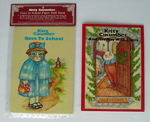 KITTY CUCUMBER GOES TO SCHOOL and HER DAY WITH SANTA Paper Doll Story Books