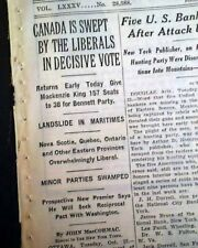 WILLIAM LYON MACKENZIE KING Prime Minister of Canada Election WIN 1935 Newspaper