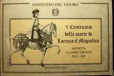 NL* ITALIA 500 LIRE ARGENTO 1992 LORENZO IL MAGNIFICO FDC SET ORIGINALE ZECCA