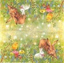 2 Serviettes papier Lapins Poussin Pâques Decoupage Paper Napkins Bunny Friends