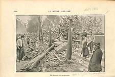 BOUQUINISTE Bookseller Tornade 10 septembre 1896 Paris GRAVURE FRANCE 1896