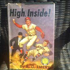 HIGH INSIDE! Baseball Fiction in DJ by RG Emery, 1948 EX-Library