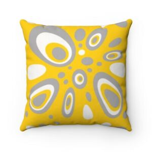 Yellow Waterproof Outdoor Pillow Cover Mid Century Modern Retro Style Mod Design