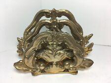 "Vintage Ornate Brass Letter Napkin Holder 6.5"" Home Office Dining"