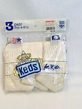 VINTAGE KEDS FOR KIDS WHITE SOCKS - 3 PAIR - FITS 4-6 1/2 - UNOPENED BAG