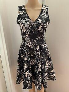 MISS SELFRIDGE Women Size UK10 Grey Floral V/neck A-line Party Summer Dress NWOT