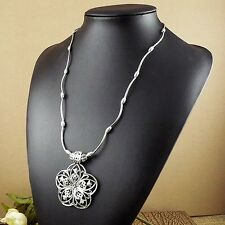 Bohemian Flower Pendant Long Tibetan Silver vintage Necklace Women Girl Jewelry