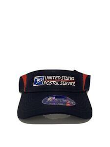 Vintage USPS Visor Cap Sportsman Custom Embroidered Hat Navy/Red