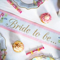 Classy Hen Night/Party SASH for Bride to Be - Shabby Chic Floral / Vintage Style