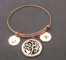 Family Tree Bracelet Family Jewelry Personalized Gift Rose Gold Bangle