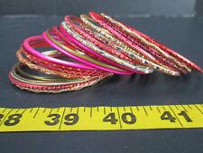 Lot of 20 Assorted Bangle Bracelets Plastic Metal Colorful Round Skul T 00004000