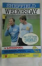 SHEFFIELD WEDNESDAY v LIVERPOOL 29.03.86 inc 'One step from Wembley ' souvenir