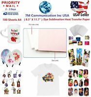 100 Sheets  A4 Dye Sublimation Heat Transfer Paper for Polyester Cotton T- Shirt
