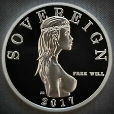 "1 Troy Oz .999 Fine Silver Free Will Sovereign Proof ""MIND YOUR BUSINESS"" Privy"