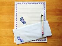 Lupine Flower Stationery 12 Sheets 6 Envelopes - Lined Stationary