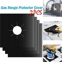 NE_ 2Pcs Teflon Gas Hob Range Protective Cover Stovetop Burner Washable Cleaning