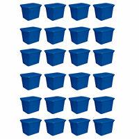 Sterilite 18 Gallon Plastic Stackable Storage Tote Container Box, Blue (24 Pack)
