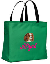 Cavalier King Charles Spaniel embroidered essential tote bag 18 COLORS
